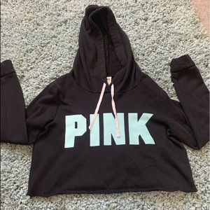 BARELY WORN, VICTORIA SECRET PINK CROPPED HOODIE.